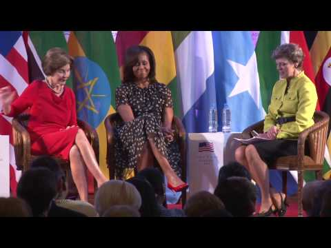 Mrs. Laura Bush and Mrs. Michelle Obama at 2013 African First Ladies Summit
