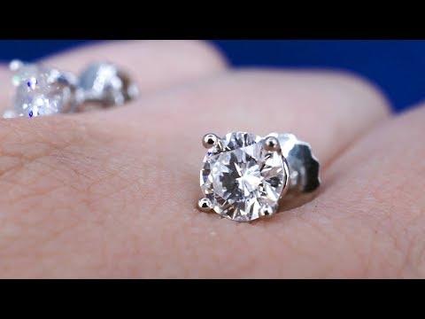 Золотые пусеты с бриллиантами по 0,5 кр от Diamond Gallery