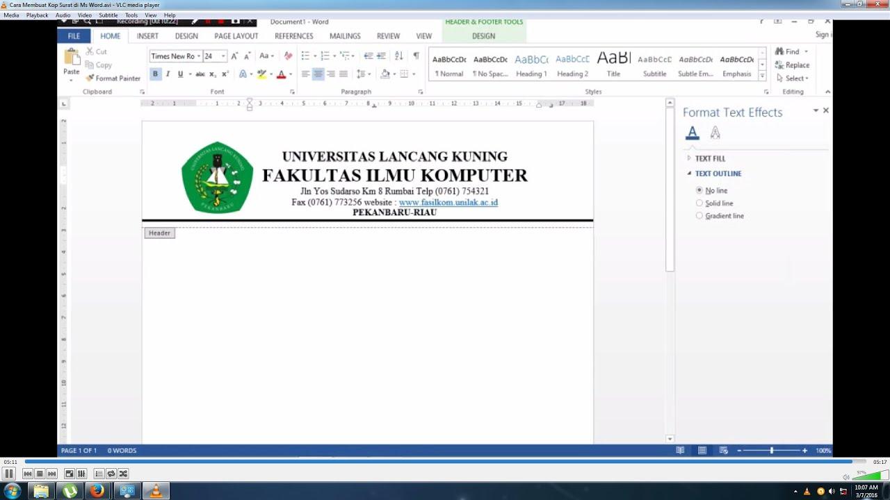 Cara Membuat Kop Surat di Ms Word (How to Create a ...