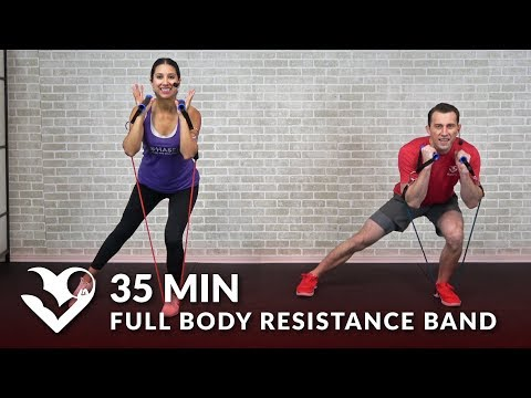35 Min Full Body Resistance Band Workout for Women & Men - Elastic Exercise Band Workouts Training