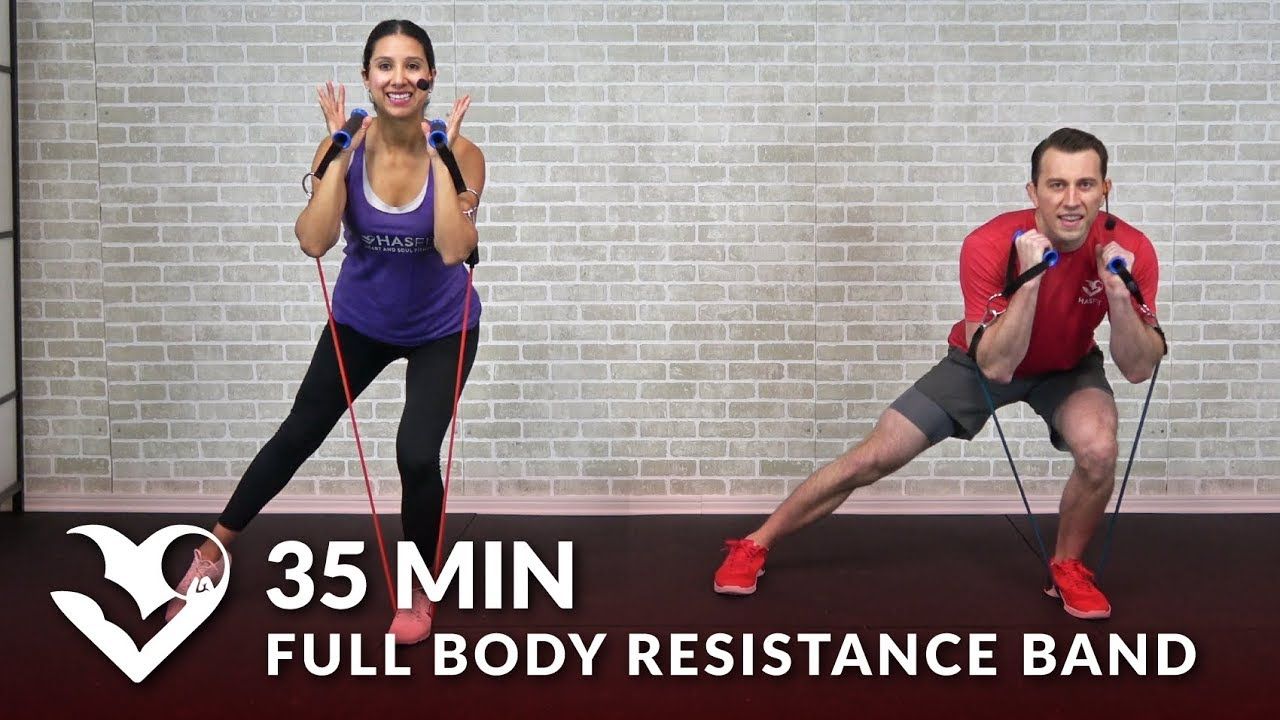 35 Min Full Body Resistance Band Workout For Women Men Elastic