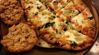 Asmr Eating - Roasted Garlic & Artichoke Flatbread Pizza With Chocolate Toffee Oatmeal Cookies