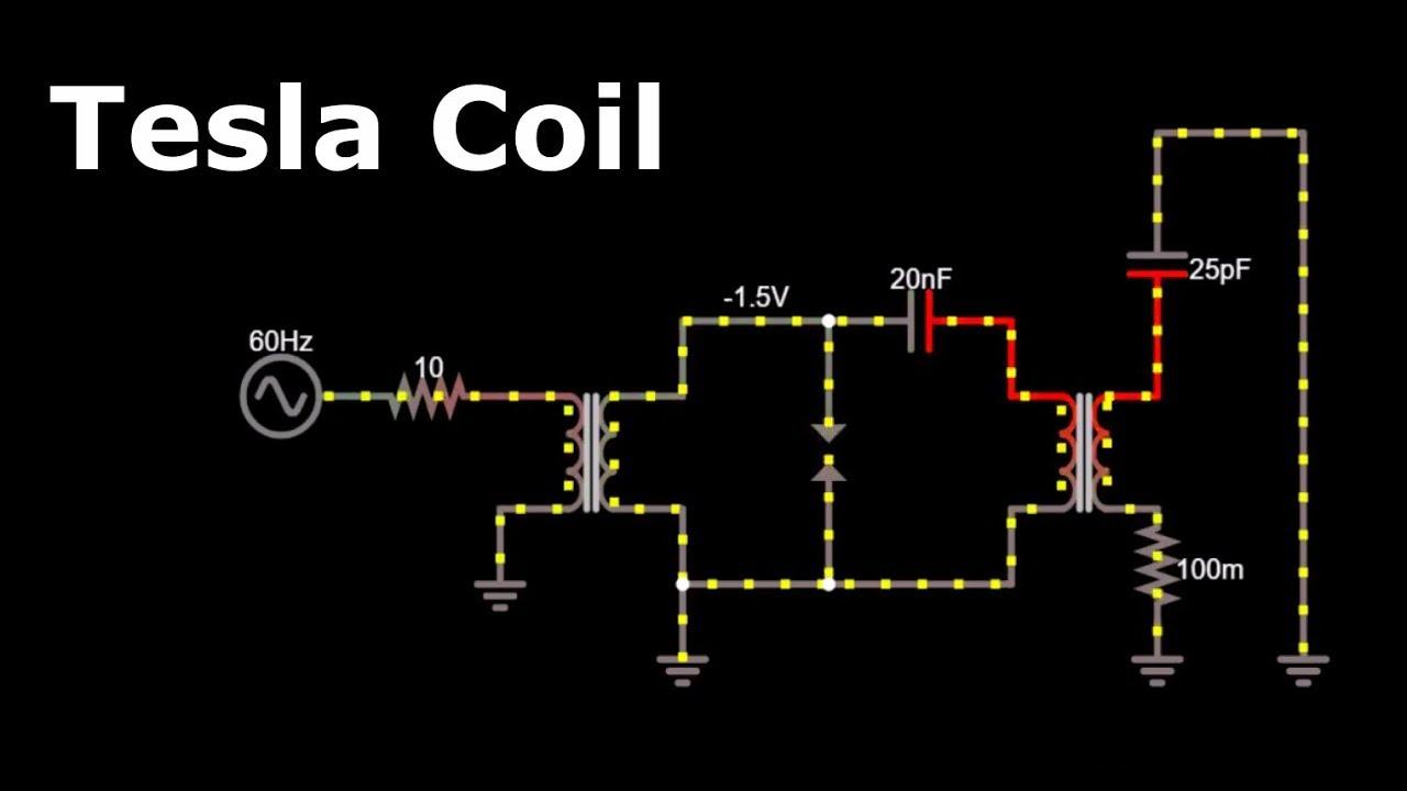 tesla coil tesla coil circuit construction working tesla coil tesla coil diagram animation [ 1280 x 720 Pixel ]