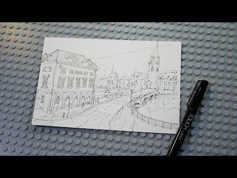 여행 스케치1부 - 스위스 루체른 풍경 그리기