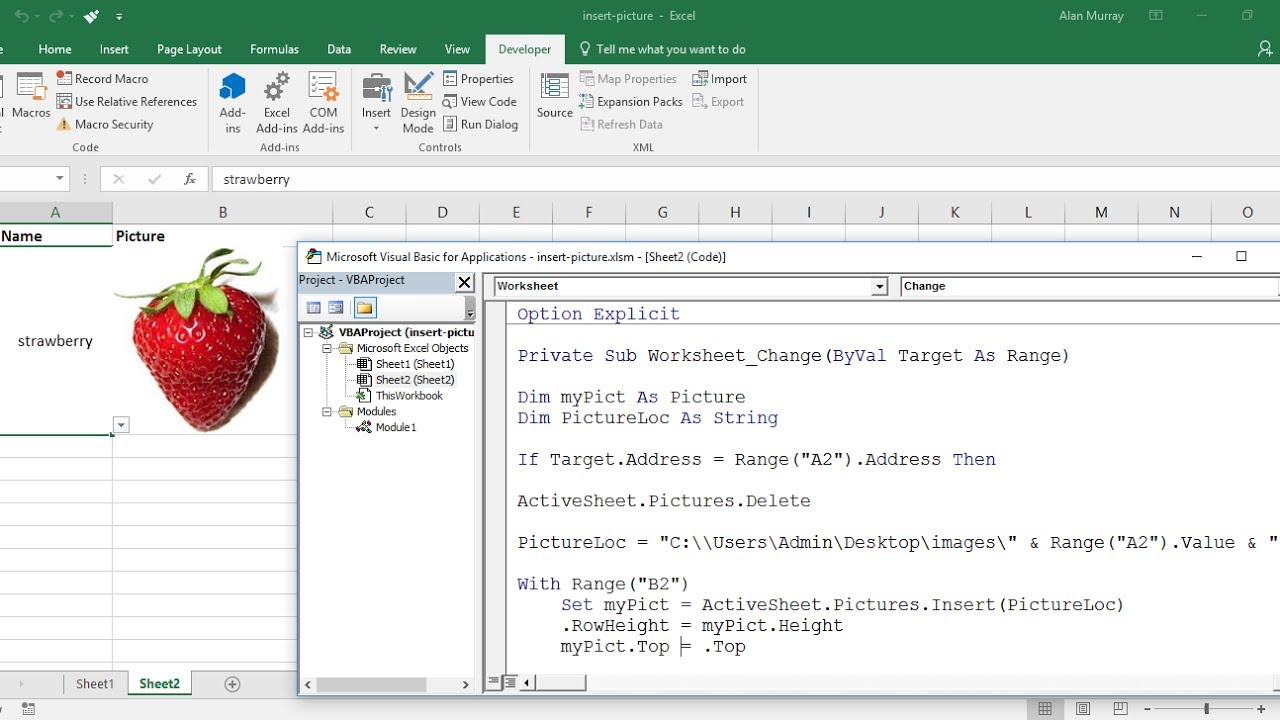 Excel VBA: Insert Picture from Directory on Cell Value Change - YouTube