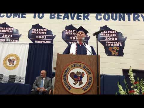 Gunner Drangstveit speaks during Reedsburg Area High School Graduation May