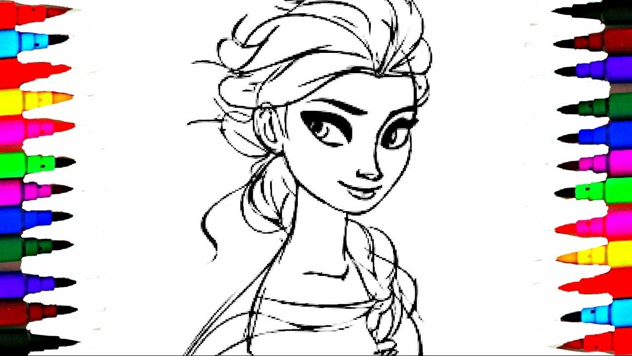 Learn Coloring Elsa Kids Cartoons Disney Frozen Princess ...