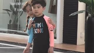 샤몽베베 투톤 배색 유아 아동 래쉬가드 세트 키즈수영복