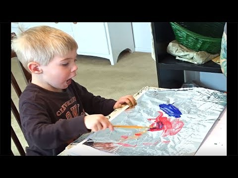 Fun Art Project For Toddlers! Painting On Foil and Mixing Colors