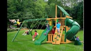 Gorilla Playsets Mountaineer Clubhouse Swing Set W Timber Shield And Deluxe Green Vinyl Canopy