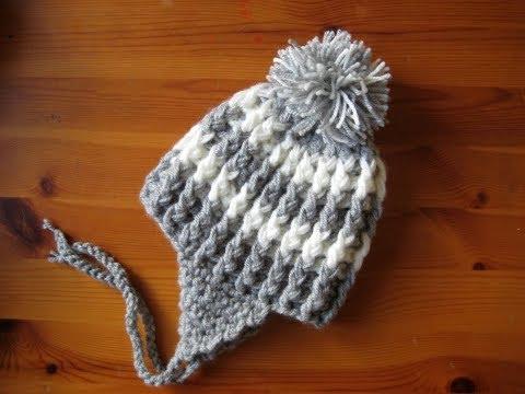 Easy crochet Baby hat Pom Pom tutorial 0-3 months