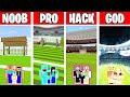Minecraft: FOOTBALL STADIUM BUILD CHALLENGE - NOOB vs PRO vs HACKER vs GOD in Minecraft