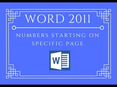 mac word 2011 page number start