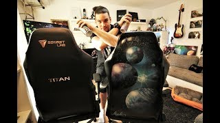 SPRAY PAINTING ON 500$ CHAIR - TITAN Secret LAB GAMING Chair (GLOW IN DARK )