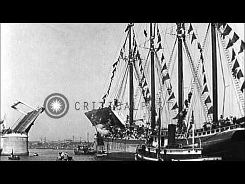 Gasparilla Pirate Festival in Tampa, Florida. HD Stock Footage
