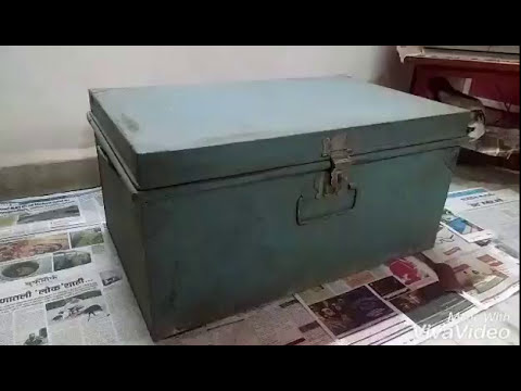 Makeover of old metal trunk