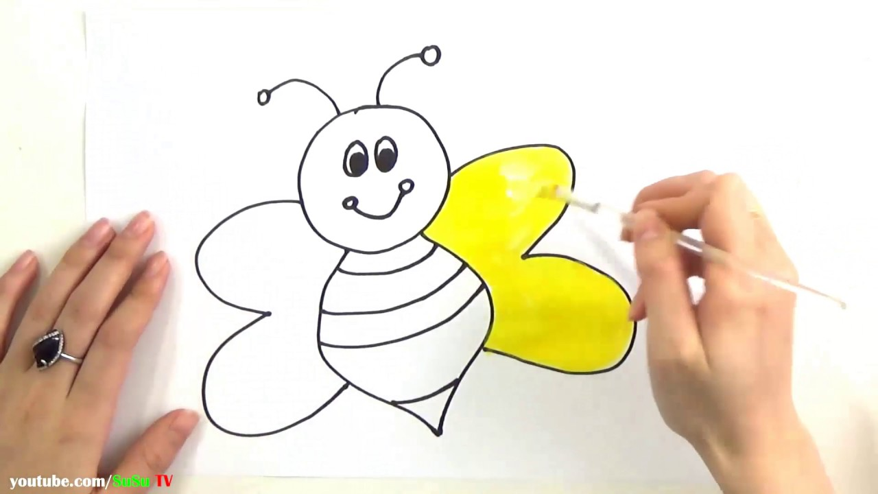 Draw and Coloring Honey Bee - Coloring Page and Learn Colors for Kids