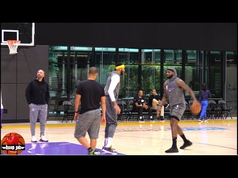 LeBron James Anthony Davis & DeMarcus Cousins Having Fun & Shooting Around After Lakers Practice