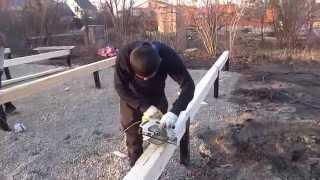 9 день строительства таунхауса(9 день строительства дома. Монтаж мауэрлат. Установка вертикальных опорных балок и каркаса пола. Ведется..., 2014-11-15T07:46:25.000Z)