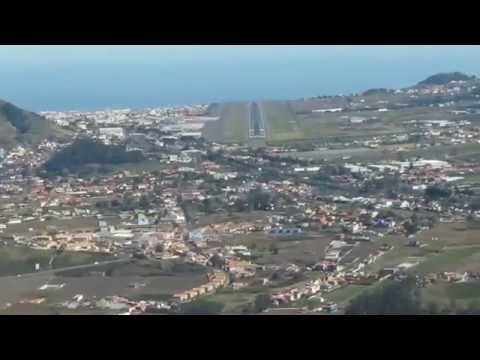 COCKPIT VIEW OF APPROACH AND LANDING AT TENERIFE NORTH LOS RODEOS AIRPORT