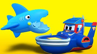Truck cartoons for kids -  SUPER BOAT save babies from the SHARKS - Super Truck in Car City !