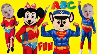 Superhero Babies ABC Song Alphabet MASHUP Sing Along Songs for Kids Schoolhouse Nursery Rhymes