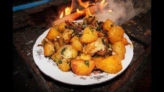 Жареная картошка с кабаньим салом