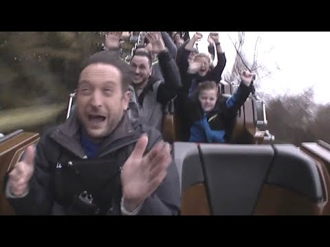 Reporter reads the news while riding STEEL VENGEANCE coaster at Cedar Point