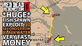 Red Dead Redemption 2 *HUGE* FISH SPAWN 30 seconds From Blackwater VERY FAST MONEY
