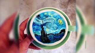 Шедевр в чашке: бариста из Сеула пишет картины на кофейной пенке