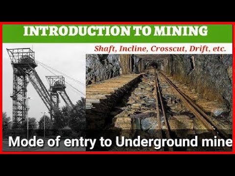 LECTURE 3 - INTRODUCTION TO MINING|| MODES OF ENTRY TO U/G MINE||SHAFT, INCLINE, ADIT ||MINING WORLD