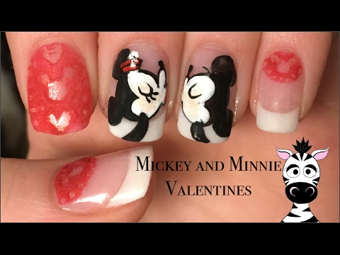 Valentines Day Mickey And Minnie Mouse With A 3d Lace Nail Art