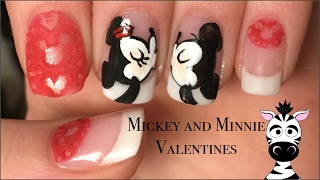 Valentines Day Mickey and Minnie Mouse with a 3D Lace Nail Art Tutorial
