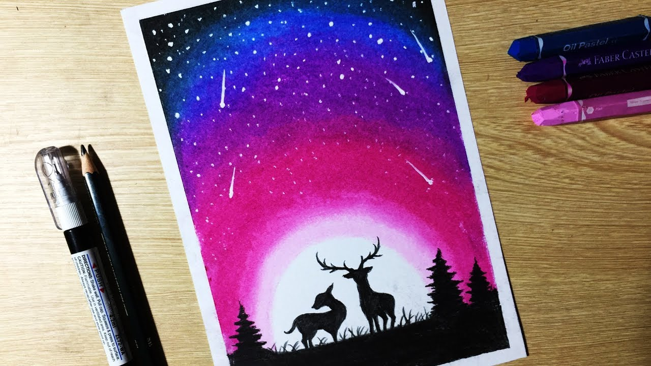 Beautiful Night Sky Star Drawing With Oil Pastel Step By Step Youtube