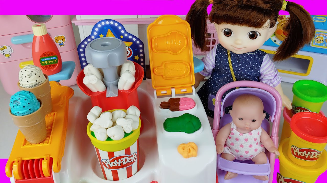 Baby doll kitchen and Play Doh popcorn toys play house story - ToyMong TV 토이몽