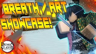 SHOWCASING ALL BREATHS AND DEMON ART IN | DEMON SLAYER | ROBLOX |