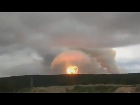 Пожар и взрывы на складе хранения артиллерийских боеприпасов вблизи поселка Каменка Ачинского района