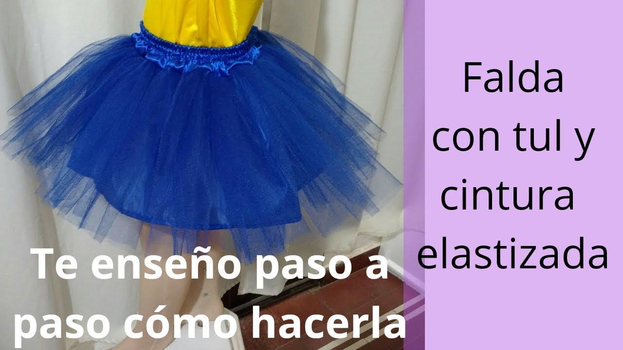 f31e1bf0e Falda con tul para disfraz o tutú con pretina y elástico para niña. Paso a  paso.