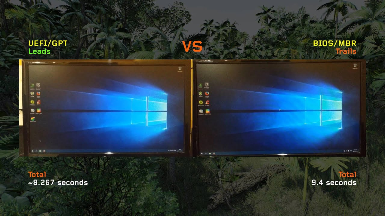 Windows 10 UEFI/GPT vs BIOS/MBR Bootup Time [4K UHD] (See