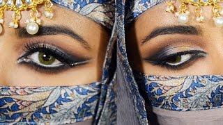 Dramatic Blue And Gold Smokey Eyes + How To Draw Arabic Eyeliner - GRWM - Eid Makeup Tutorial