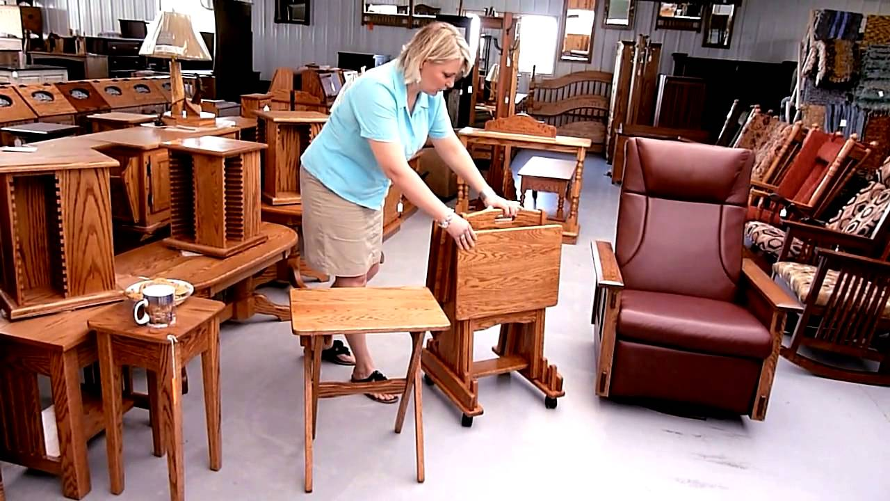 Amish Furniture Factory Tv Tray Set Youtube