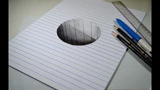 Ilusão de Ótica - Como desenhar Buraco 3D - passo a passo