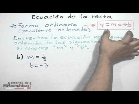 * Ecuación de recta conociendo su pendiente y su ordenada al origen (forma ordinaria)