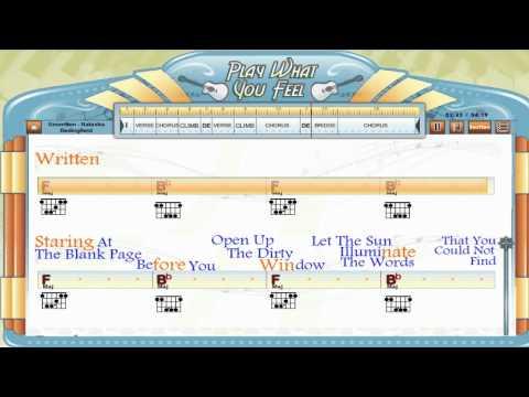 Unwritten - Natasha Bedingfield - Guitaraoke, Chords & Lyrics, Guitar Lesson - playwhatyoufeel.com