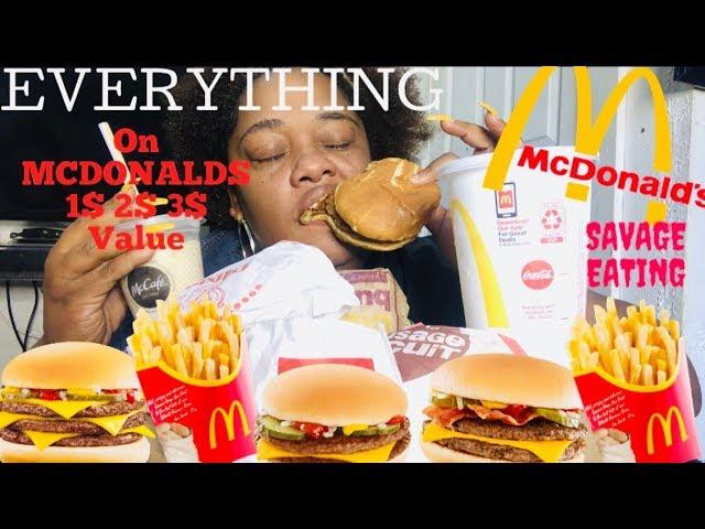 Everything On Mcdonalds 1 2 3 Value Menu Mukbang Social Eating Eating Show