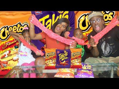 HOT CHEETOS SLIME VS TAKIS SLIME! DIY Super Crunchy Cheetos Slime!