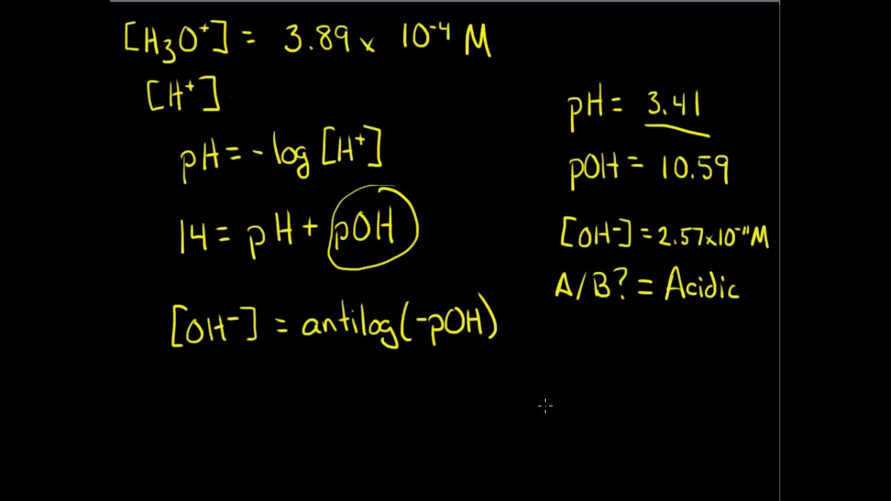 Chemistry pH and pOH Calculations 1 4 YouTube – Chemistry Ph and Poh Calculations Worksheet