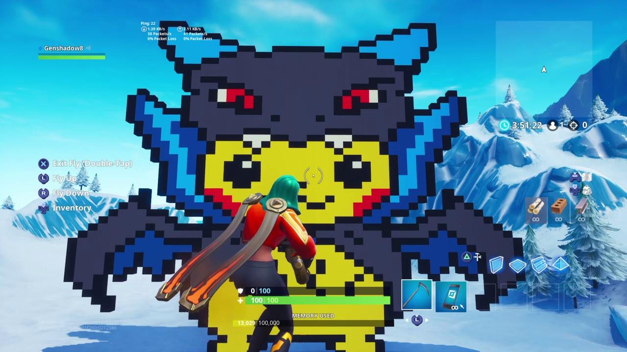 Fortnite Pikachu in mega charizard x costume pixel art ...