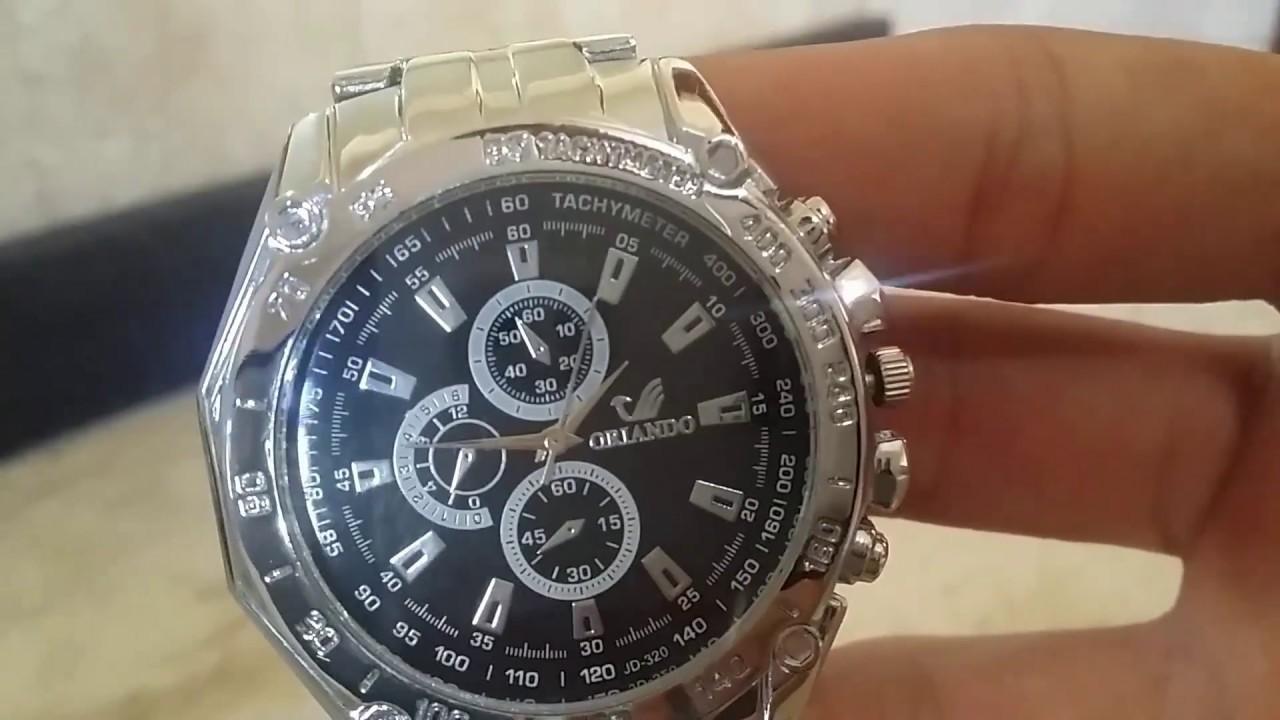 Relógio Orlando Prata Fundo Preto PT-BR - Men Quartz Watch Orlando CC-ING