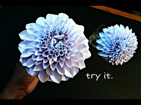 How To Make A Paper dahlia Flower for Vase - DIY Simple Paper Craft